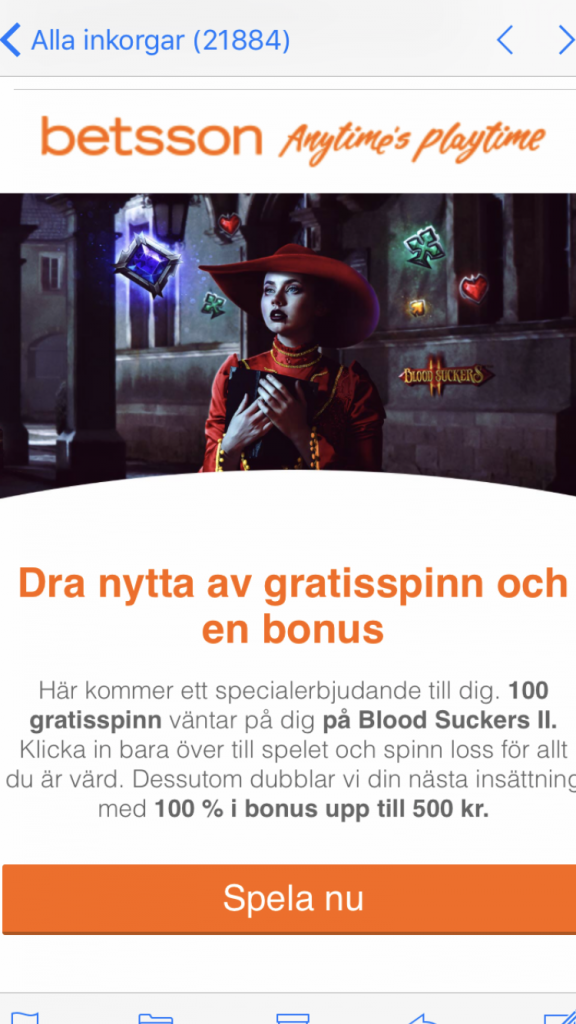 betsson 100 free spins
